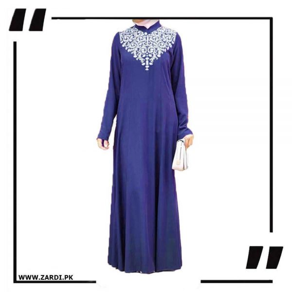 AA32 blue Neckless White Embroidery Maxi