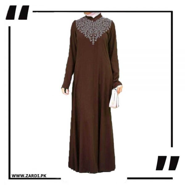 AA32 brown Neckless White Embroidery Maxi