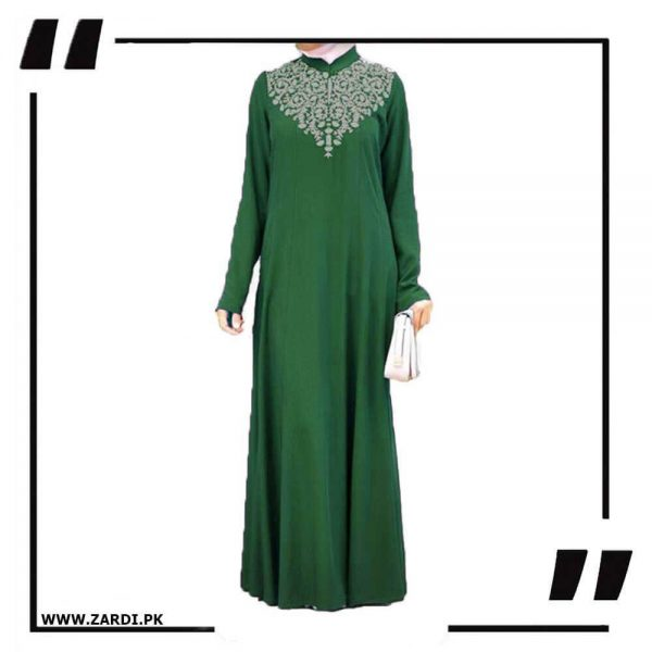 AA32 green Neckless White Embroidery Maxi