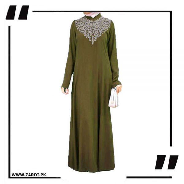 AA32 olive Neckless White Embroidery Maxi