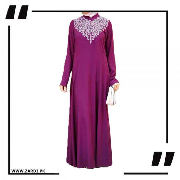 AA32 pink Neckless White Embroidery Maxi