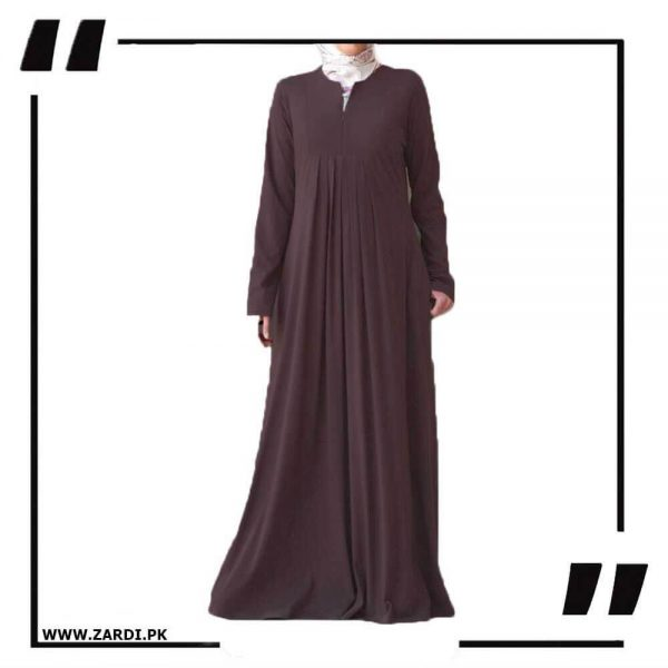 AA36 brown Haze V Cut Neck Abaya