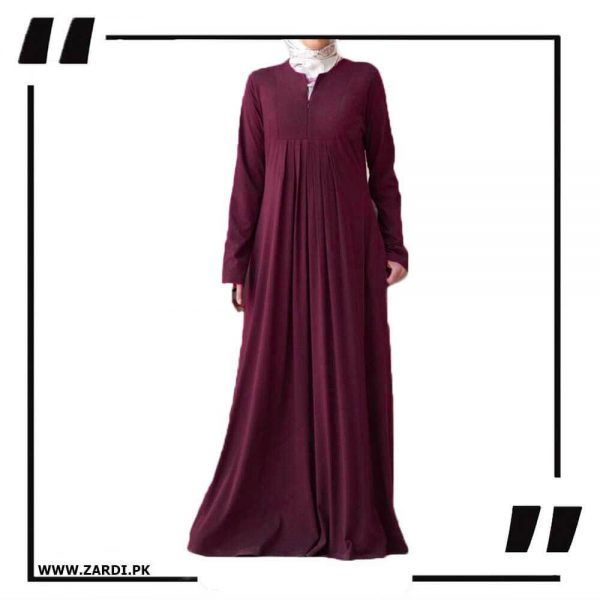 AA36 mahroon Haze V Cut Neck Abaya