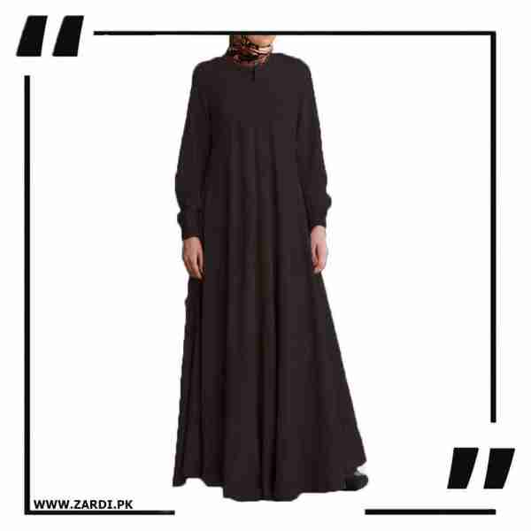 AA39 brown Maxi Flared Abaya