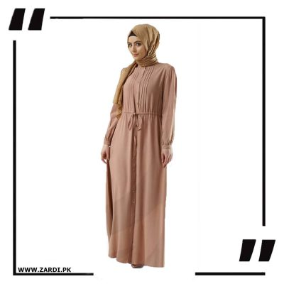 Tea Pink Plated Coat abaya