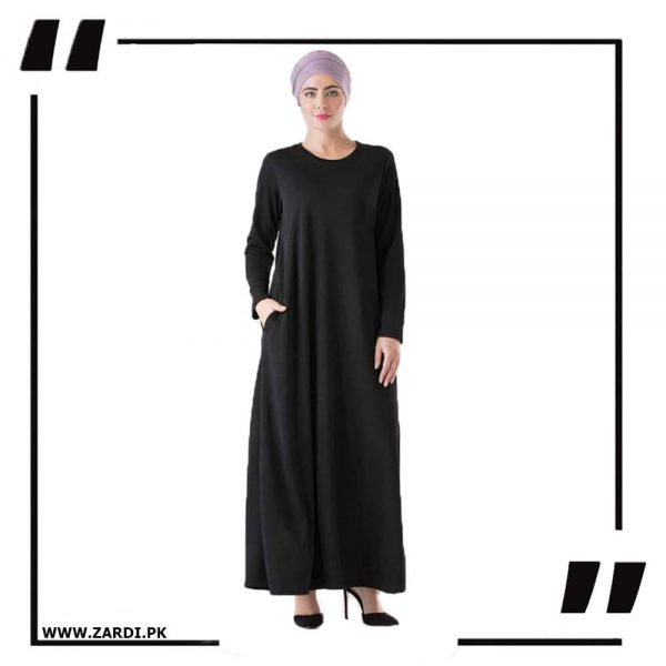 AA48 blackRound Neck Maxi Dress 2