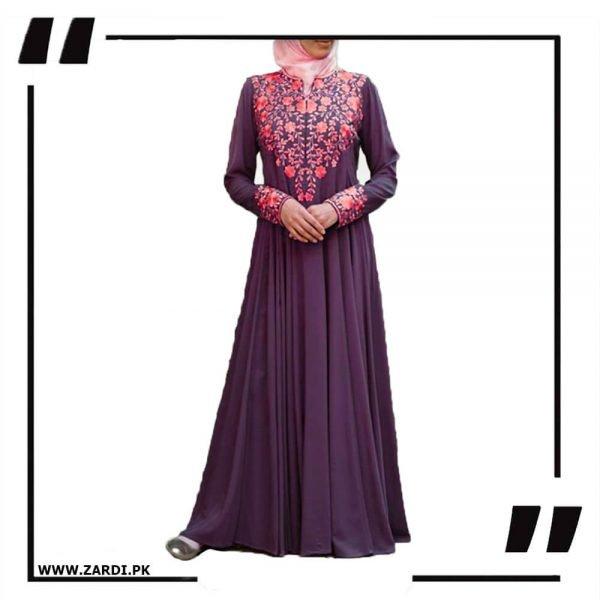AA49 purple Embroidery Maxi Style Abaya