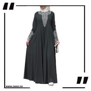 Silver Jewel Embroidered Maxi abaya