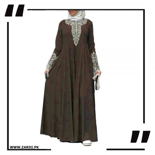 AA50 brown Silver Jewel Embroidered Maxi