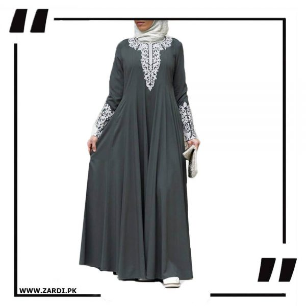 AA50 grey Silver Jewel Embroidered Maxi