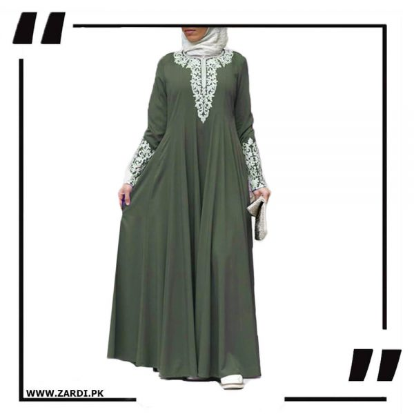 AA50 olive Silver Jewel Embroidered Maxi