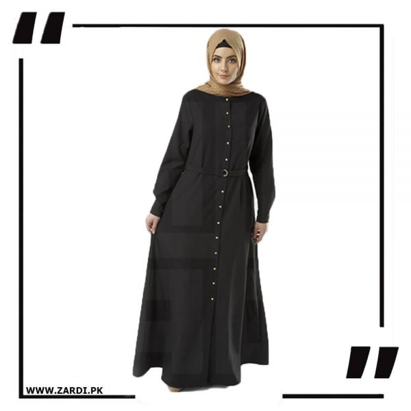 AA54 black Long Coat Abaya
