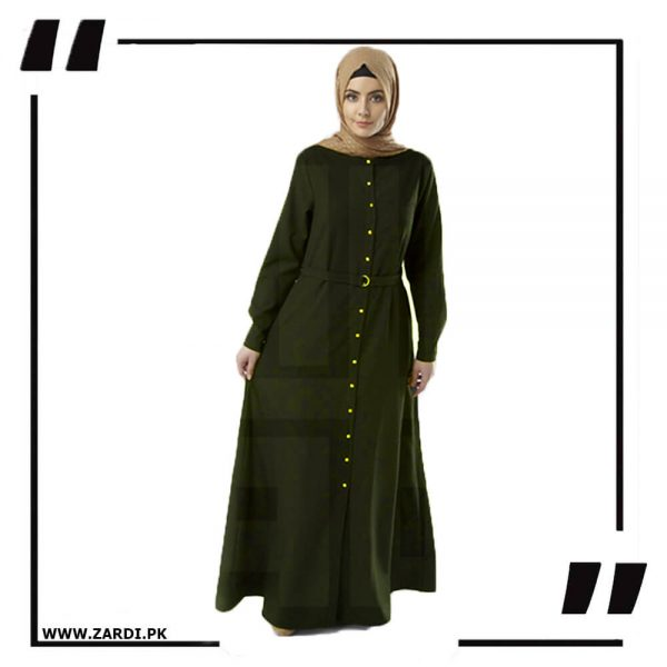 AA54 green Long Coat Abaya