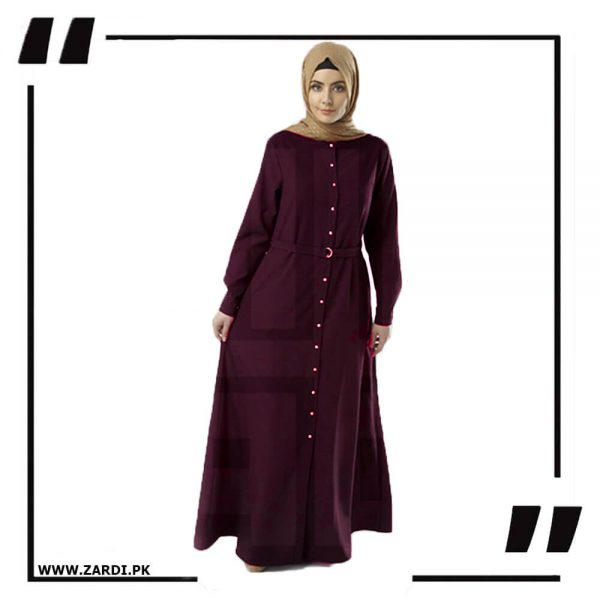 AA54 mahroon Long Coat Abaya