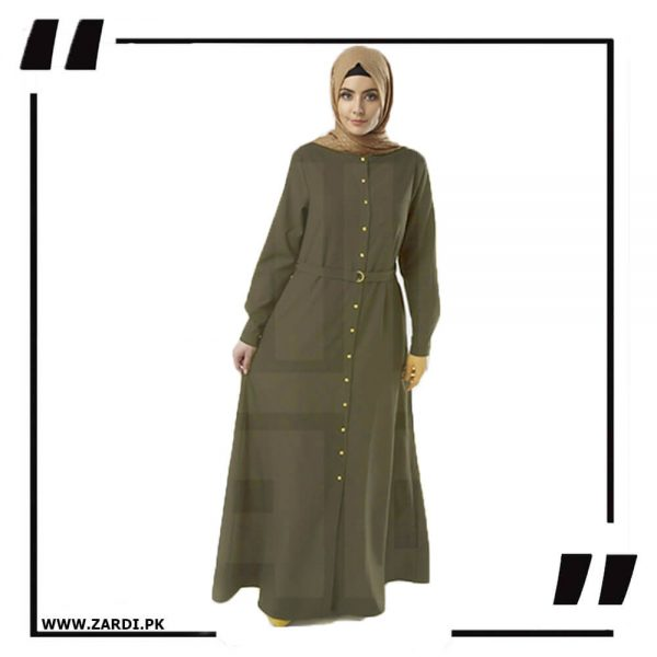 AA54 olive Long Coat Abaya