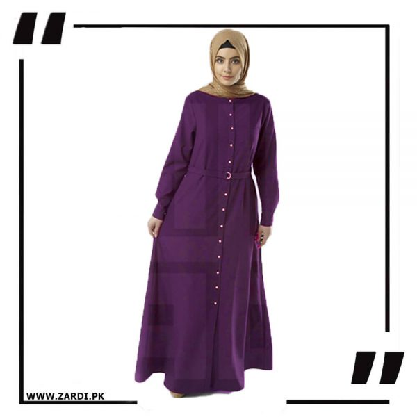 AA54 purple Long Coat Abaya