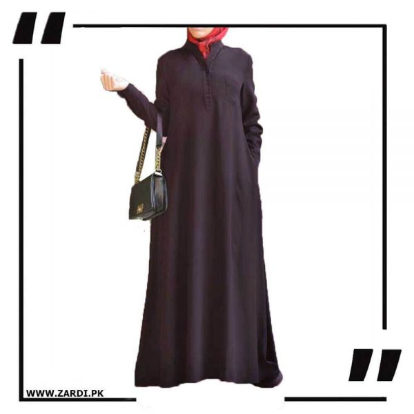 AA56 brown V Cut Sherwani Collar Long Abaya