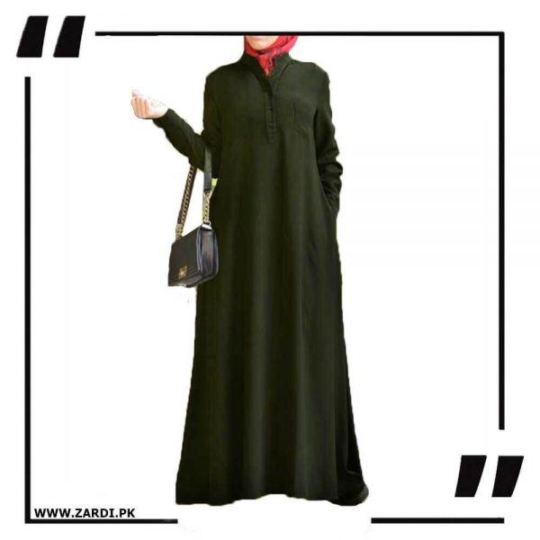 AA56 green V Cut Sherwani Collar Long Abaya
