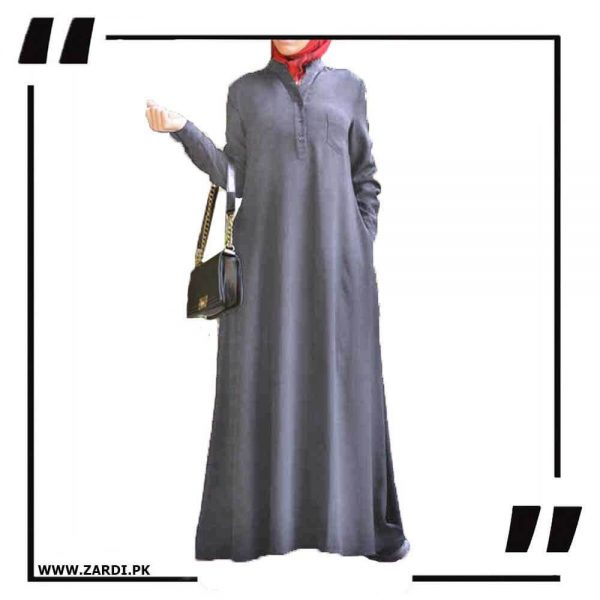 AA56 grey V Cut Sherwani Collar Long Abaya