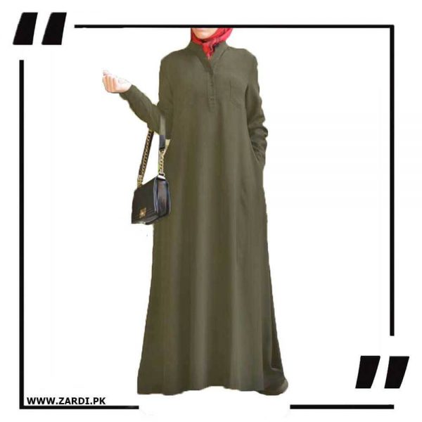 AA56 olive V Cut Sherwani Collar Long Abaya