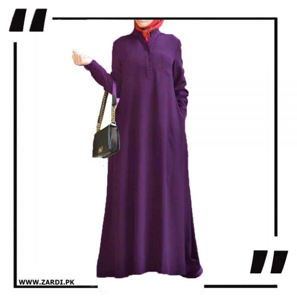AA56 purple V Cut Sherwani Collar Long Abaya