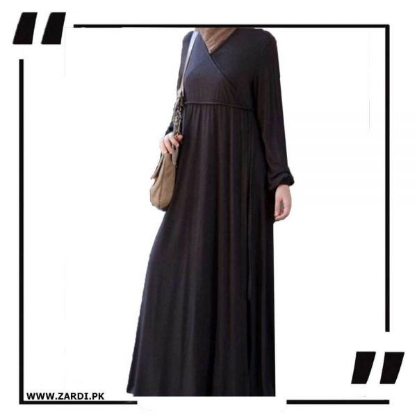 AA57 black Cross Layered Abayas