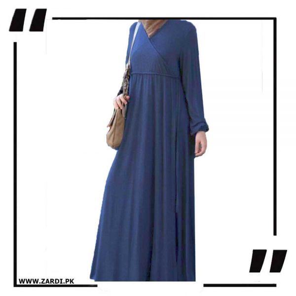AA57 blue Cross Layered Abayas