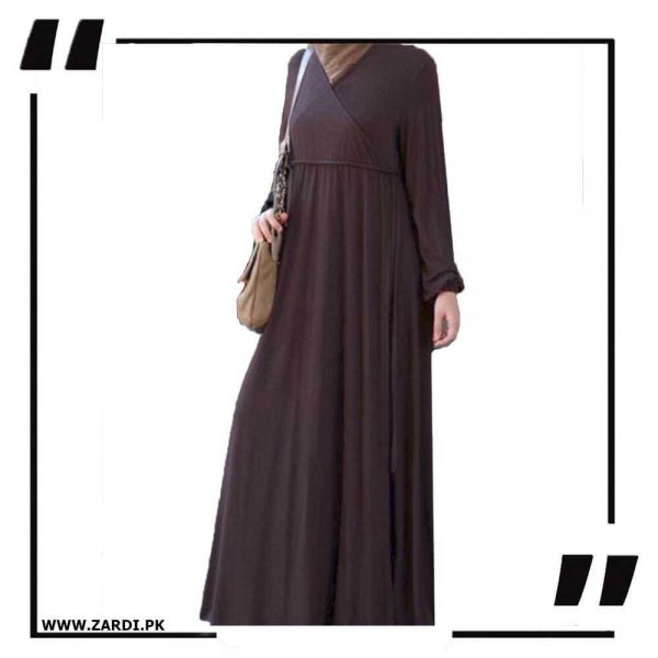 AA57 brown Cross Layered Abayas