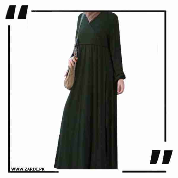 AA57 green Cross Layered Abayas