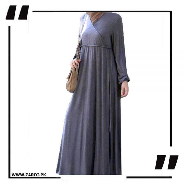 AA57 grey Cross Layered Abayas