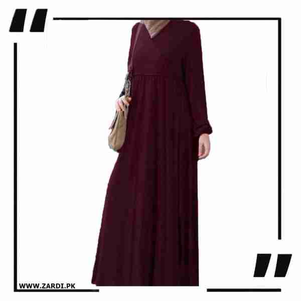 AA57 mahroon Cross Layered Abayas