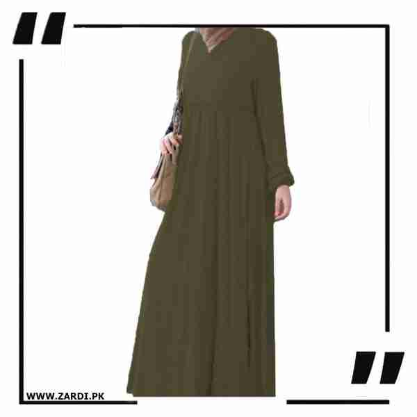 AA57 olive Cross Layered Abayas