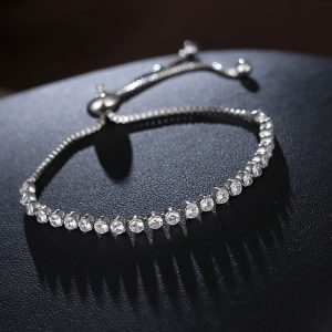 AAA Zircon Silver Adjustable Tennis Bracelet