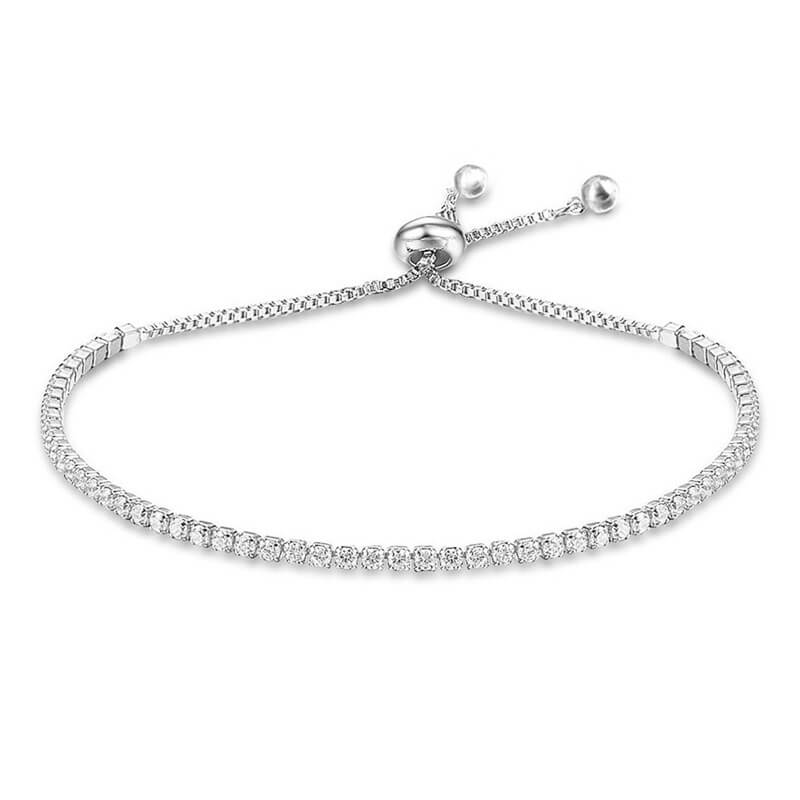 Silver Rhinestone Adjustable Bracelet 1