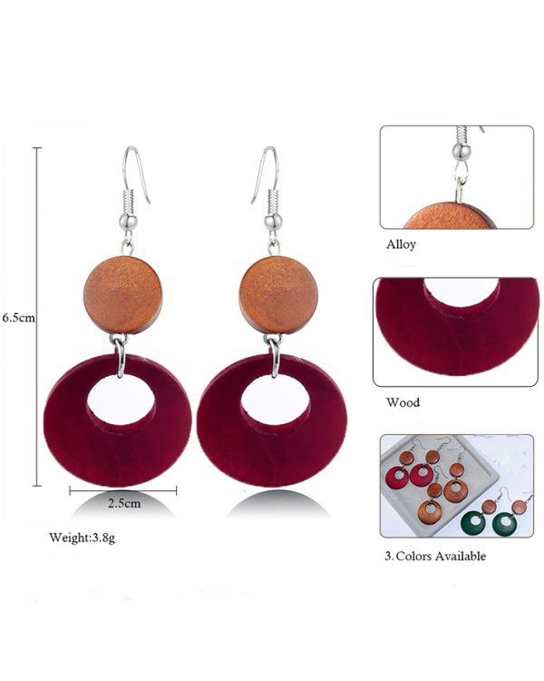 AE38 Wood Round Drop Earring For Her – Brown Red1