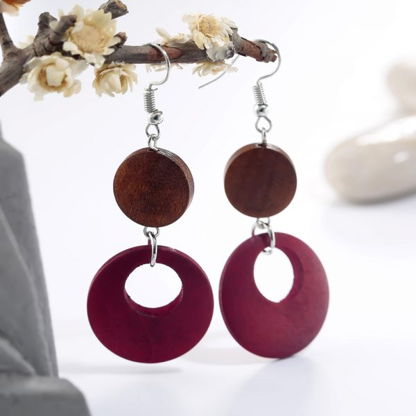 AE38 Wood Round Drop Earring For Her – BrownRed