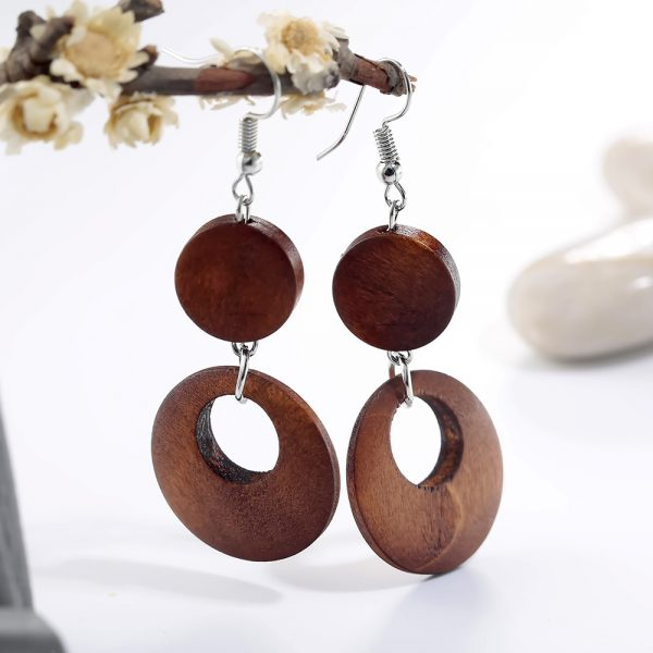 AE39 Wood Round Drop Earring For Her – Brown