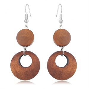 Wood Round Drop Earring For Her - Brown