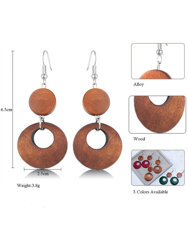 AE40 Wood Round Drop Earring For Her – Brown