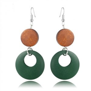Wood Round Drop Earring For Her - Brown Green