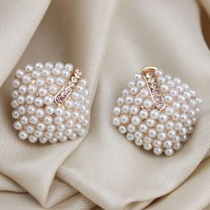 Pearl Earring With Rhinestones Stud Ear ring