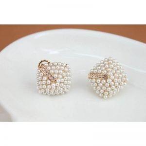 Pearl Earring With Rhinestones Stud Ear ring