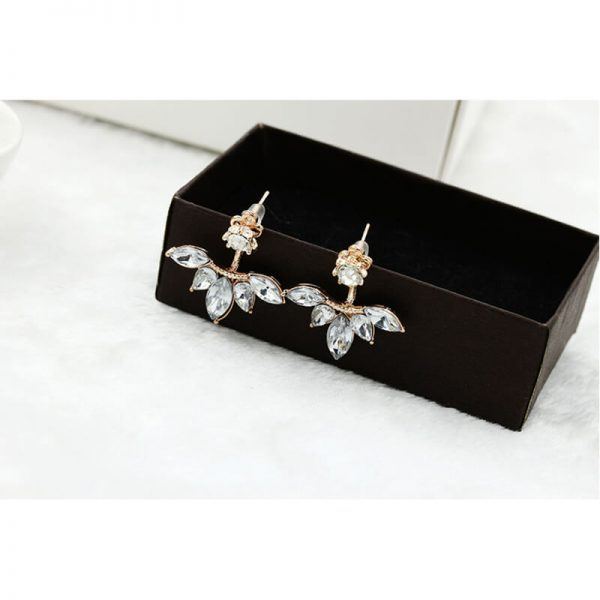 AE44 Gold Leave Crystal Stud Earring For Women