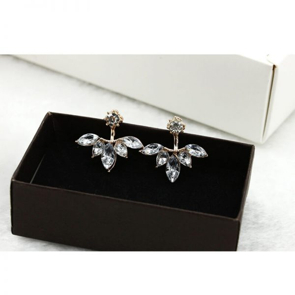 AE44 Gold Leave Crystal Stud Earring For Women4