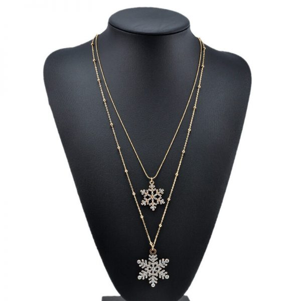 AN53 Gold Floral Double Long Chain Necklace