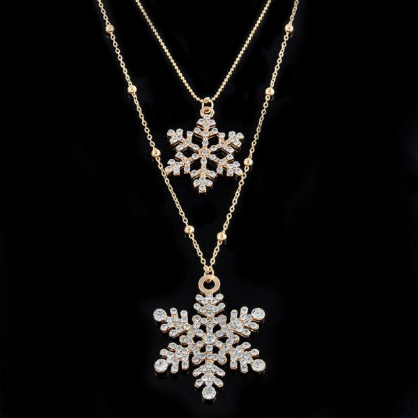AN53 Gold Floral Double Long Chain Necklace1