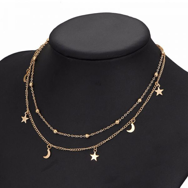 AN57 Gold 2 Chain Moon Star Beads Charm Necklace