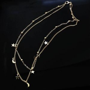 Gold 2 Chain Moon Star Beads Charm Necklace