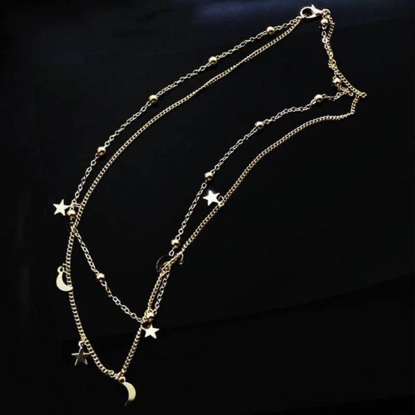 AN57 Gold 2 Chain Moon Star Beads Charm Necklace1