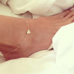 Heart Design Chain Anklet Gold